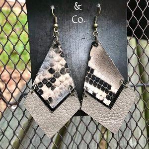 ✨NEW✨Snakeskin Print Leather Earrings!